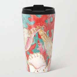 Chic Aqua Turquoise Coral Red Seahells Pattern Travel Mug