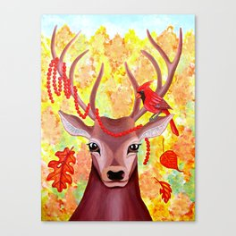 Deer and Cardinal at Fall Canvas Print