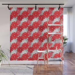 Modern Floral Kimono Print, Coral Red and Gray Wall Mural
