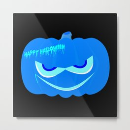 Evil Blue Halloween Pumpkin Metal Print