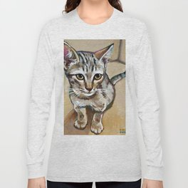 Tiger Striped Kitten Painting by Robert Phelps Long Sleeve T-shirt