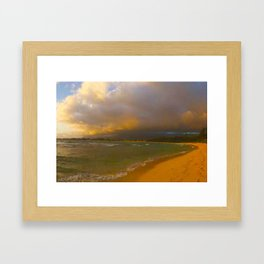 Playing Tag With the Hawaii Tide Framed Art Print