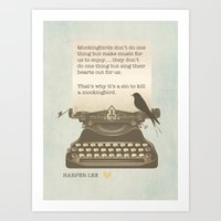 to kill a mockingbird Art Prints featuring To Kill a Mockingbird by The Print Design Studio
