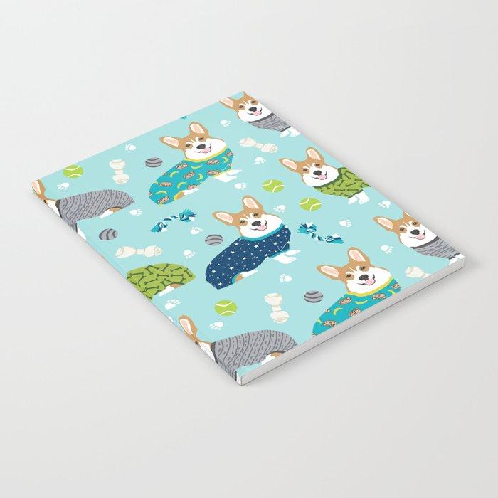 Corgi pajamas welsh corgi in pjs pattern print cute dog gifts custom dog  portrait Notebook