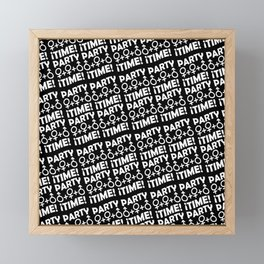 Party Time Concept Typographic Pattern Framed Mini Art Print