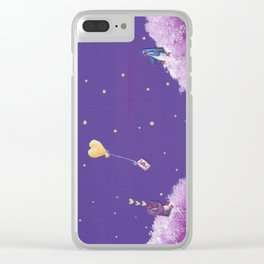 Penguin Sends Love Letter with Heart Balloon to Friend Across Starry Sky Clear iPhone Case