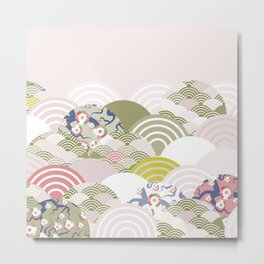 scales simple Nature background with japanese sakura flower, rosy pink Cherry, wave circle pattern Metal Print