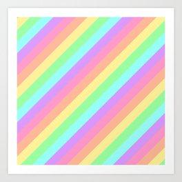 Pastel Rainbow Diagonal Stripes Art Print