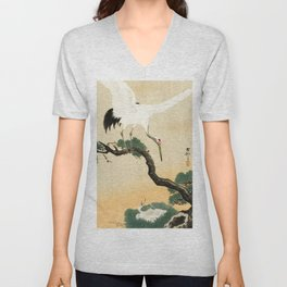 Crane and its chicks on a pine tree  - Vintage Japanese Woodblock Print Art Unisex V-Neck