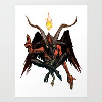 baphomet Art Prints featuring BAPHOMET by Lowell Isaac