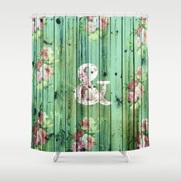 Vintage Floral Ampersand Turquoise Beach Wood Shower Curtain