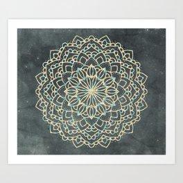 Sea Shimmer Mandala - Gold + Turquoise Art Print