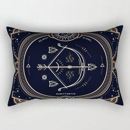 Sagittarius Zodiac Golden White on Black Background Rectangular Pillow