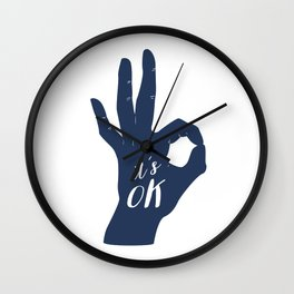Blue and red hands Wall Clock