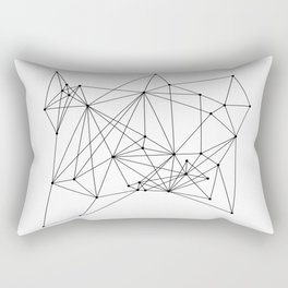 White Geometric Dots and Lines Rectangular Pillow