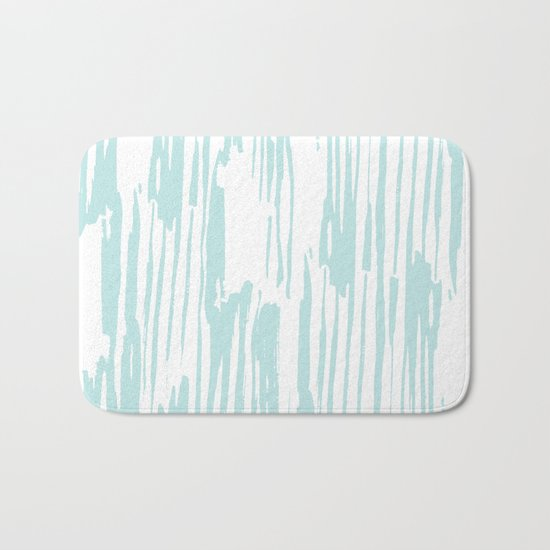 Bamboo Stripe White on Succulent Blue Bath Mat