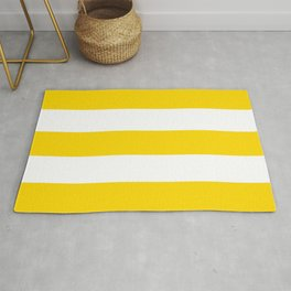 Sunshine Yellow and White Stripes Rug