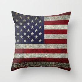American Flag, Old Glory in dark worn grunge Throw Pillow