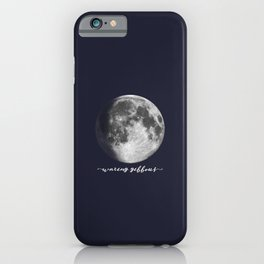 Waxing Gibbous Moon on Navy English iPhone Case