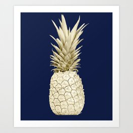 Pineapple Pineapple Gold on Navy Blue Art Print