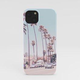 California Sidewalks // Blue Ocean Skyline Roadside Palm Trees Tropical Hollywood Paradise iPhone Case