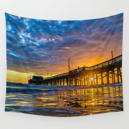 Low Angle Sunset at Newport Pier. Wall Tapestry