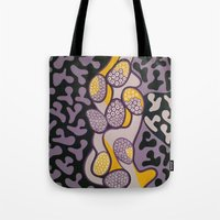 gossip girl Tote Bags featuring Yellow gossip by Sandyshow