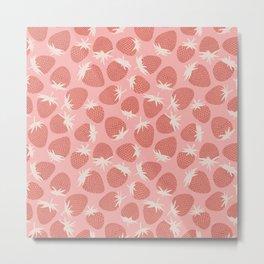 Pink Strawberries Metal Print