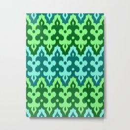 Moroccan Ikat Damask, Turquoise & Jade Green Metal Print