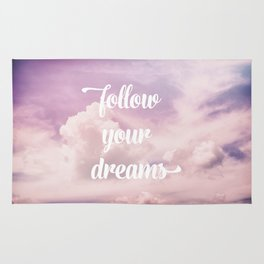 Follow your dreams - pink and purple clouds Rug