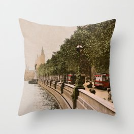 Vintage The Embankment, River Thames, London Throw Pillow