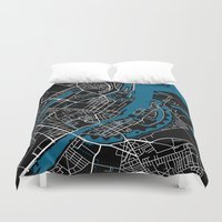 copenhagen Duvet Covers featuring Copenhagen city map black colour by MCartography