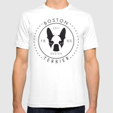Boston Terrier White SMALL Mens Fitted Tee