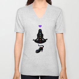 Yoga lady cat Unisex V-Neck