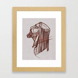 Jesus Christ Face / Charcoal Framed Art Print