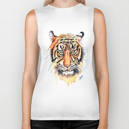 Tiger (Watercolor) Biker Tank