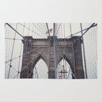 brooklyn bridge Area & Throw Rugs featuring Brooklyn Bridge by Kameron Elisabeth