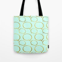 gold foil Tote Bags featuring Mint Gold Foil 01 by Aloke Design
