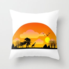 MINIMALISTIC AFRICAN LANDSCAPE Throw Pillow