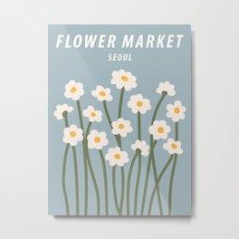 Flower market print, Seoul, Chamomile, Daisy art print, Cute blue flowers, Posters aesthetic, Cottagecore Metal Print