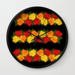 Red Rose Border On Black Wall Clock
