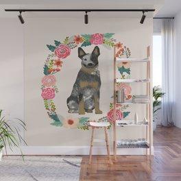 Australian Cattle Dog blue heeler floral wreath dog gifts pet portraits Wall Mural