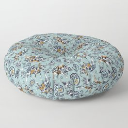 Ox Paisley (Blue-Grey Palette) Floor Pillow