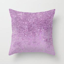 Abstract glam violet lilac marble glitter Throw Pillow