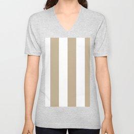 Wide Vertical Stripes - White and Khaki Brown Unisex V-Neck
