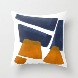 Colorful Minimalist Mid Century Modern Shapes Navy Blue Yellow Ochre Sharp Shapes Throw Pillow