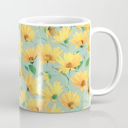 Painted Golden Yellow Daisies on soft sage green Coffee Mug