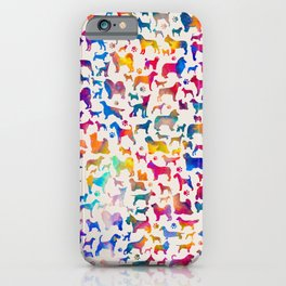 Fun Colorful Dog breeds Silhouettes Pattern iPhone Case