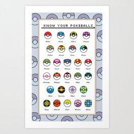 Know Your Pokeballs Art Print