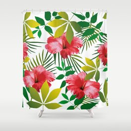 Hibiscus Flower and Leaf Shower Curtain